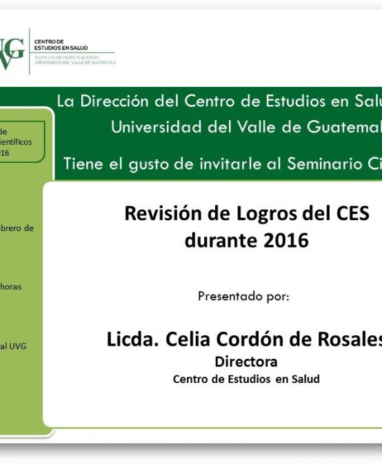 Seminario Cinetífico Revisión de Logros CES 2016